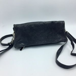 Made in Italy Navy Blue Leather Convertible Bag